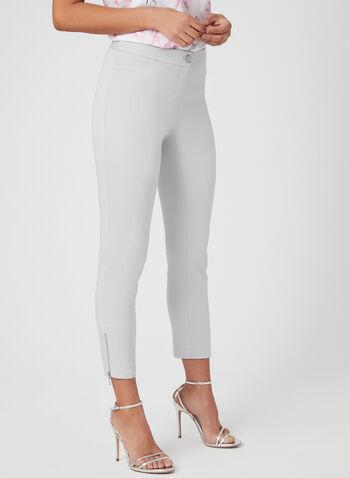 Pantalon coupe cité à jambe étroite, Gris,  pantalon, coupe cité, jambe étroite, coton, zip, printemps 2019