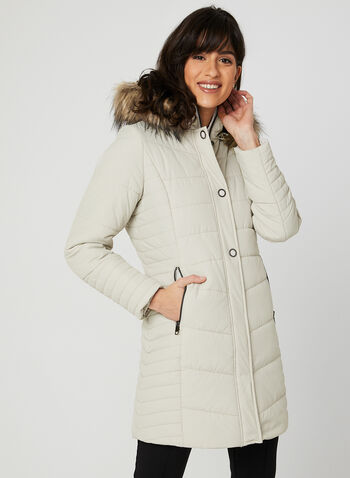 Quilted Faux Down Coat, Off White, hi-res