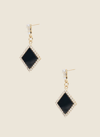 Diamond Shaped Dangle Earrings, Black,  fall winter 2020, jewel, earrings, accessory, crystals, diamond shaped, holiday, holiday 2020