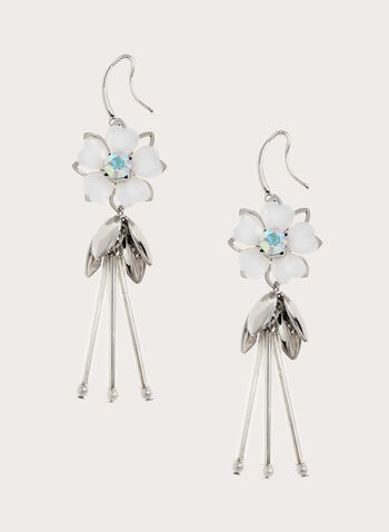 Flower & Petal Dangle Earrings, White, hi-res