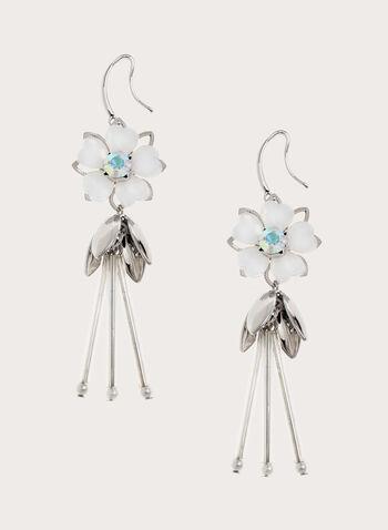 Boucles d'oreilles à pendants fleurs, Blanc, hi-res