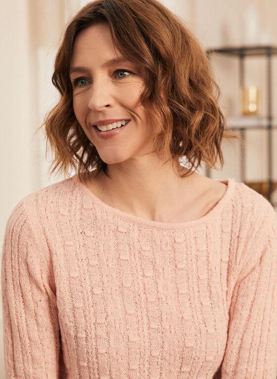 Pull en tricot à ourlet festonné, Rose