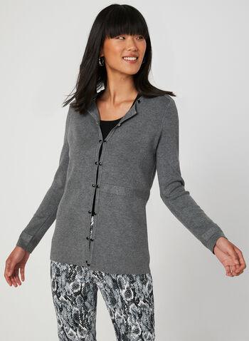 Cardigan à détails boutonnés, Gris, hi-res,  manches longues, tricot ottoman, crochets, encolure ronde, automne hiver 2019