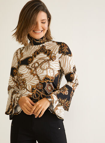 Chain Print Bell Sleeve Top, Black,  fall winter 2020, blouse, top, mock neck, Long sleeves, bell sleeves, chains, jersey, made in canada