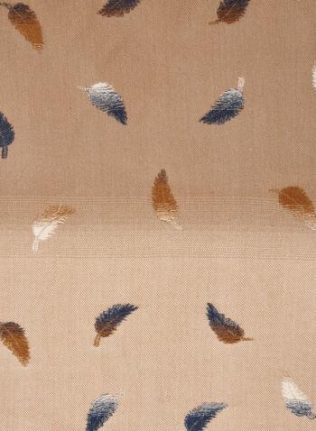 Foulard à motif plumes, Brun,  foulard, écharpe, hiver, motifs, plumes, automne hiver 2020