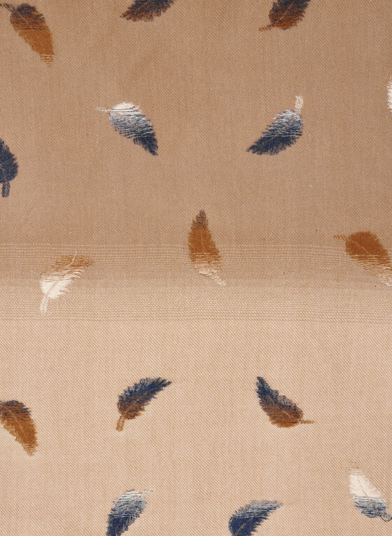 Foulard à motif plumes, Brun