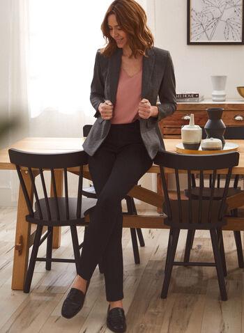 Veste tailleur à motif tartan, Brun,  veste, tailleur, col cranté, boutons, tartan, automne hiver 2020