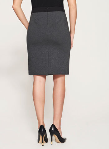 Zipper Front Ponte Skirt, , hi-res