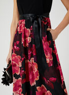 Robe à col cléopâtre et jupe fleurie, Noir, hi-res