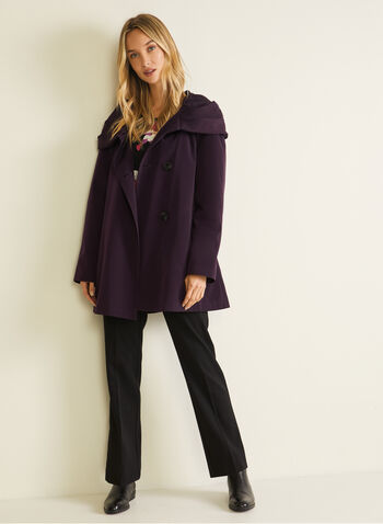 Hooded Button Front Coat, Purple,  coat, button, hood, asymmetric, fall winter 2020