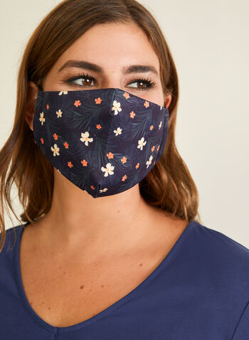 Floral Print Mask With Filters, Black,  mask, protective, reusable, washable, adjustable, breathable, comfortable, spring summer 2020