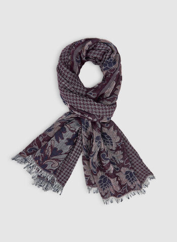 Floral & Houndstooth Prints Scarf, Purple,  fall winter 2019, houndstooth, floral prints,
