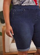 Folded Cuff Denim Shorts, Blue