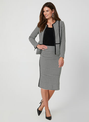 Houndstooth Print Skirt, Black, hi-res,  pencil skirt. contrast trim, fall 2019, winter 2019