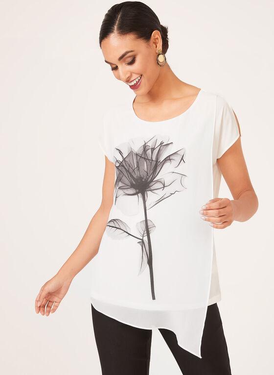 Blouse florale asymétrique, Blanc, hi-res