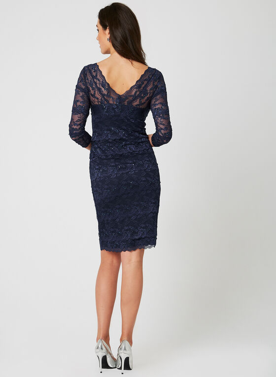 Marina - Beaded Lace Dress, Blue, hi-res