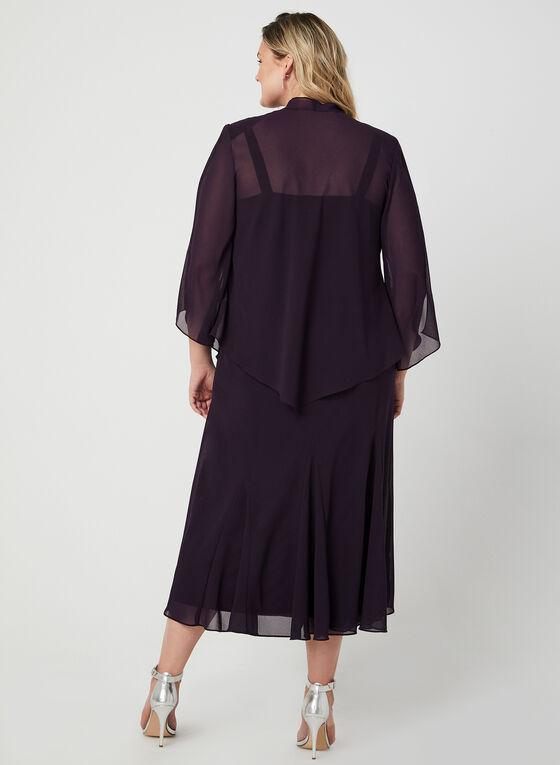 Ensemble robe et haut ouvert à détails de billes, Violet, hi-res