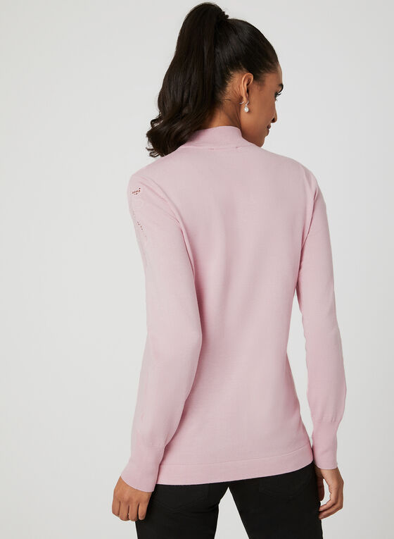Embroidered Mock Neck Sweater, Pink, hi-res
