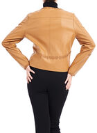 Faux Leather Stitch Detail Jacket, Brown, hi-res