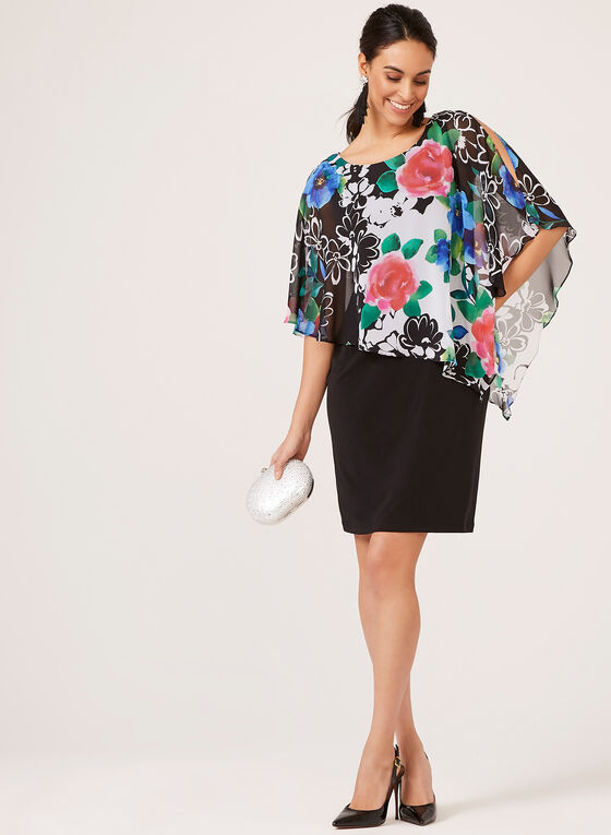 Cold Shoulder Floral Poncho Dress, Black, hi-res