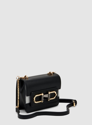 Two Tone Crossbody Bag, Black,  faux leather, buckles, chain, removable shoulder strap, fall 2019, winter 2019