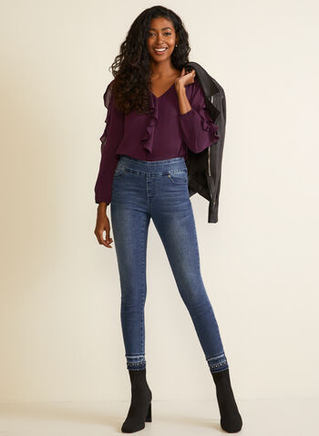 Puffed Sleeve Rufle Detail Top, Purple,  fall winter 2020, blouse, puffed sleeve, 3/4 sleeve, ruffles, ruffled, v-neck