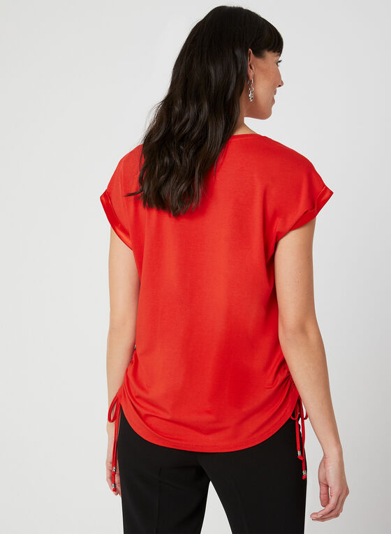 Satin Trim T-Shirt, Red