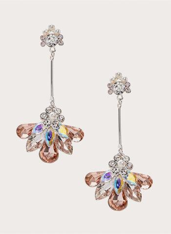 Crystal Pendant Dangle Earrings , Pink, hi-res