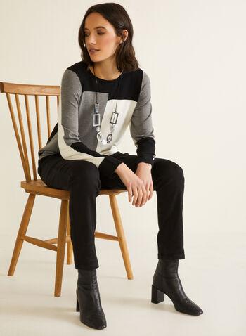 Pull à blocs monochrome, Noir,  automne hiver 2020, pull, chandail, tricot, manches longues, encolure ronde, blocs de couleurs, monochrome, contrastant, confort, doux