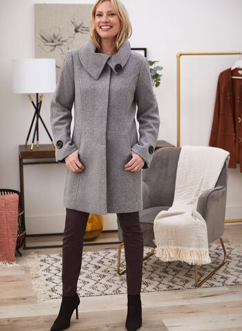 Manteau aspect laine extensible à boutons, Gris,  automne hiver 2020, manteau, laine, boutons, poches