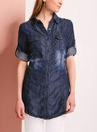 Chemise aspect denim délavé à manches ajustables, Bleu, hi-res