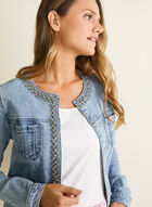 Pearl Detail Denim Jacket, Blue