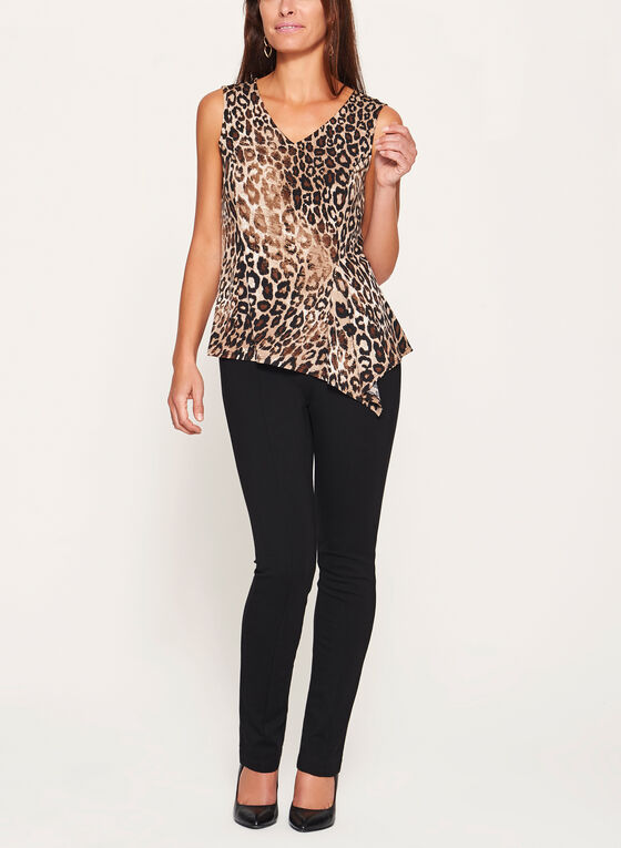 Leopard Print Sleeveless Top , Black, hi-res