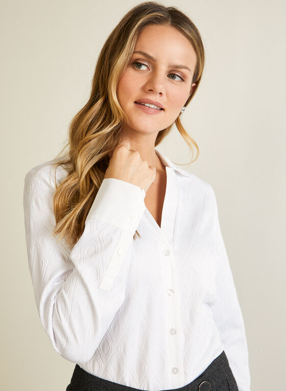 Chemisier en tricot jacquard, Blanc