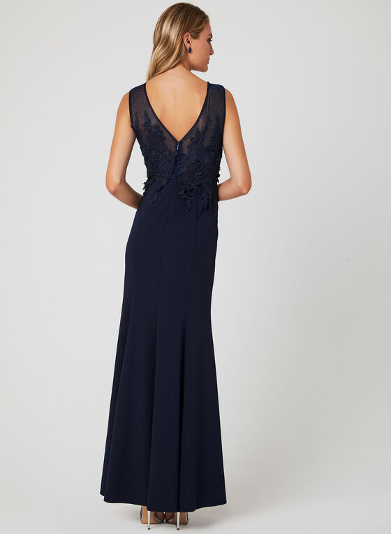 Embellished Empire Waist Dress, Blue, hi-res