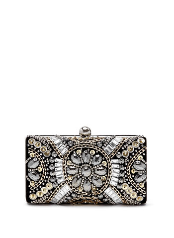 Crystal Embellished Velvet Clutch, , hi-res