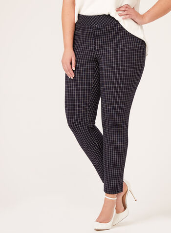 Check Print Pull-On Pants, Blue, hi-res