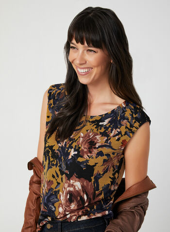 Flower Print Sleeveless Top, Brown, hi-res,  sleeveless, flower print, jersey, fall 2019, winter 2019