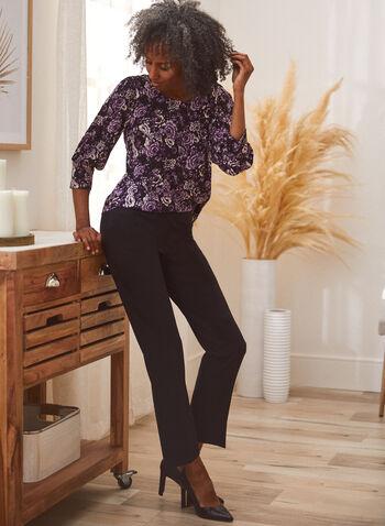 Pantalon coupe cité à jambe droite, Noir,  pantalon, cité, jambe droite, pinces, poches, automne hiver 2020
