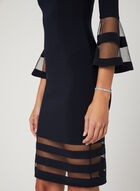 Illusion Yoke Bell Sleeve Dress, Blue, hi-res