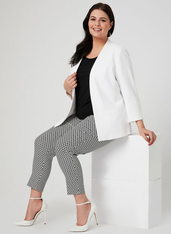 Open Front Crepe Jacket, Off White, hi-res