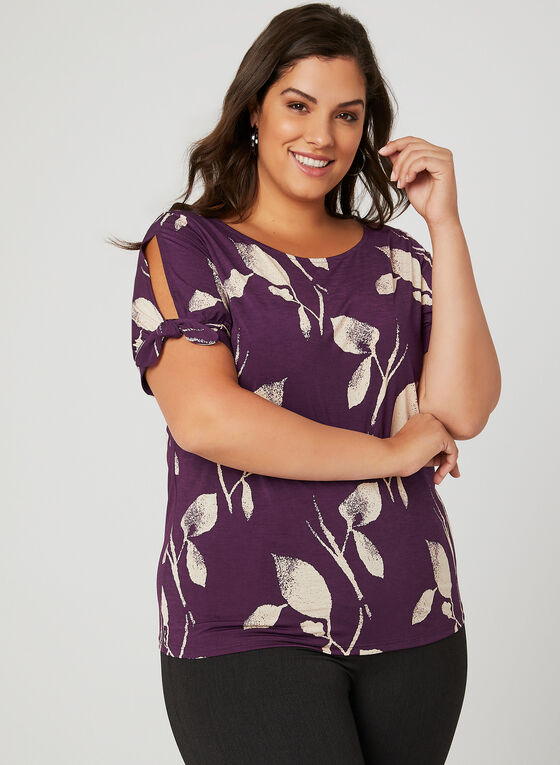 Short Sleeve Jersey Top, Purple, hi-res