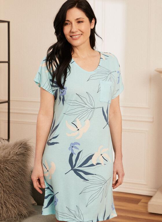 Tropical Print Nightshirt, Blue