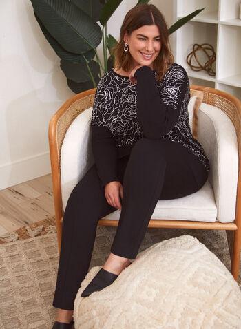 Rose Print Sweater, Black,  sweater, knit, rose print, floral print, long sleeves, dolman sleeves, fall winter 2021