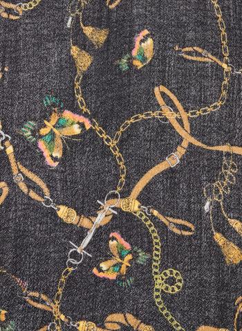 Foulard léger motif chaînes, Noir, hi-res,  foulard, chaîne, automne hiver 2019