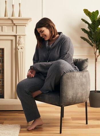 Haut en tricot avec col à cordon , Bleu,  haut, col, bénitier, chandail, tricot, manches longues, cordon, automne hiver 2020