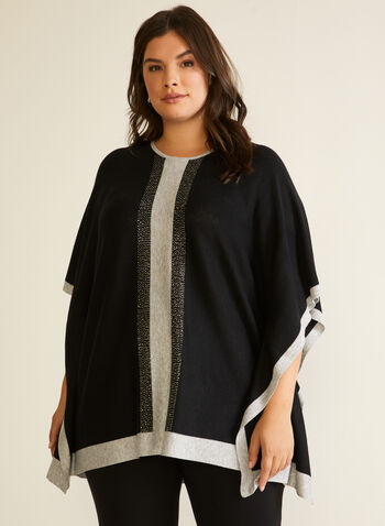 Two Tone Beaded Poncho, Black,  Fall winter 2020, poncho, knit, beaded, two-tone