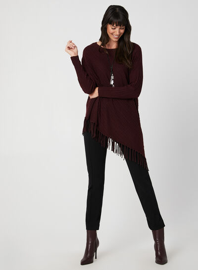 Fringed Asymmetric Sweater