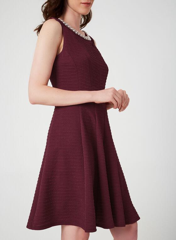 Crystal Trim Fit & Flare Dress, Red, hi-res