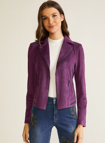 Zipper Detail Faux Suede Jacket, Purple,  jacket, faux suede, faux leather, zipper, notched collar, open front, fall winter 2020